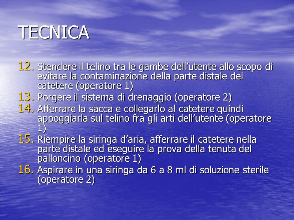 TECNICA Stendere il telino tra le gambe dell'utente allo scopo di evitare la contaminazione della parte distale del catetere (operatore 1)