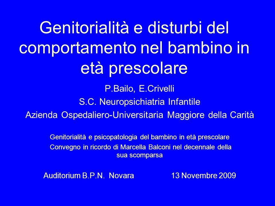 Genitorialità e disturbi del comportamento nel bambino in età prescolare