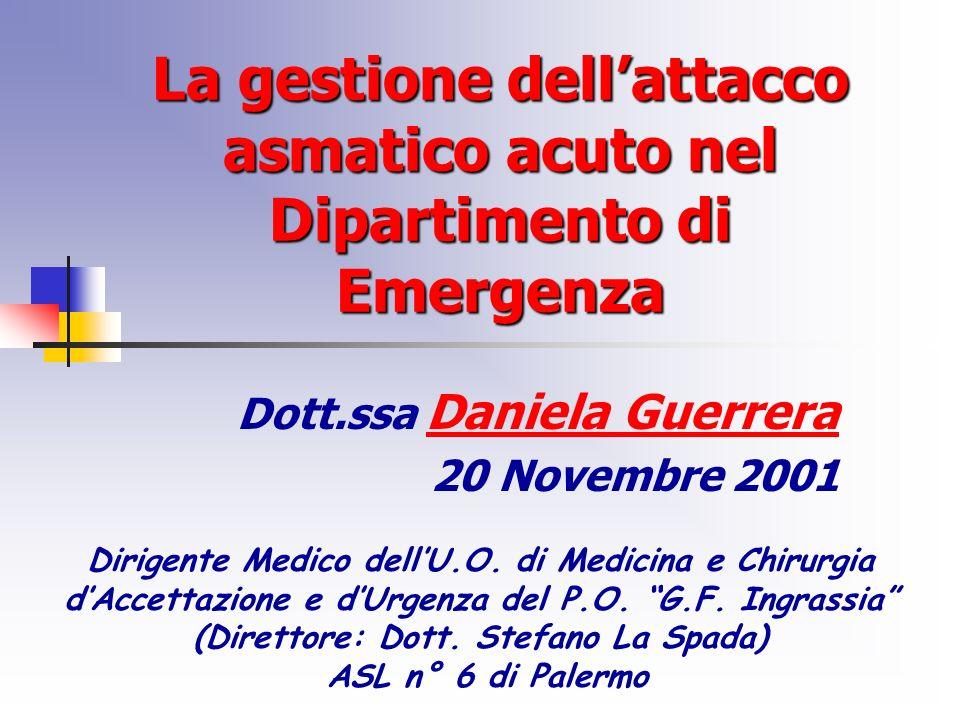 La gestione dell'attacco asmatico acuto nel Dipartimento di Emergenza