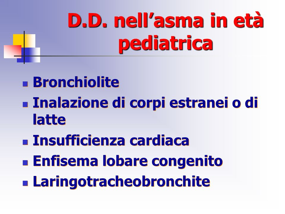 D.D. nell'asma in età pediatrica