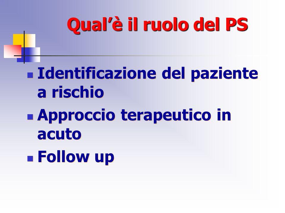 Qual'è il ruolo del PS Identificazione del paziente a rischio