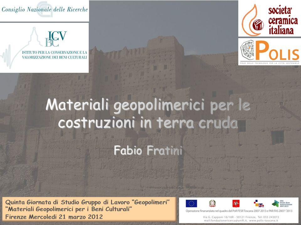 Materiali geopolimerici per le costruzioni in terra cruda