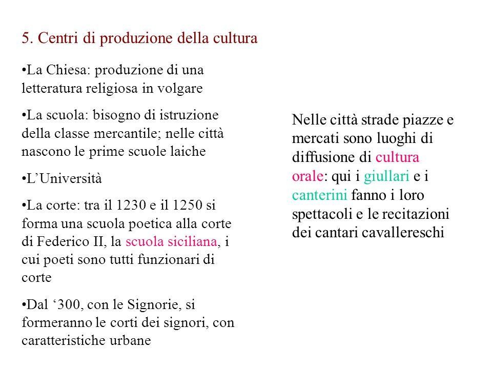 5. Centri di produzione della cultura