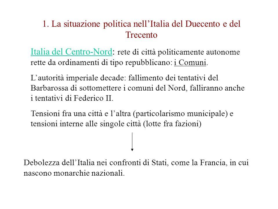 1. La situazione politica nell'Italia del Duecento e del Trecento