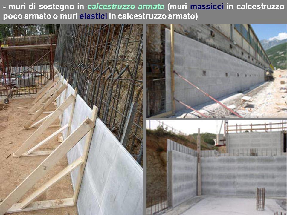 - muri di sostegno in calcestruzzo armato (muri massicci in calcestruzzo poco armato o muri elastici in calcestruzzo armato)