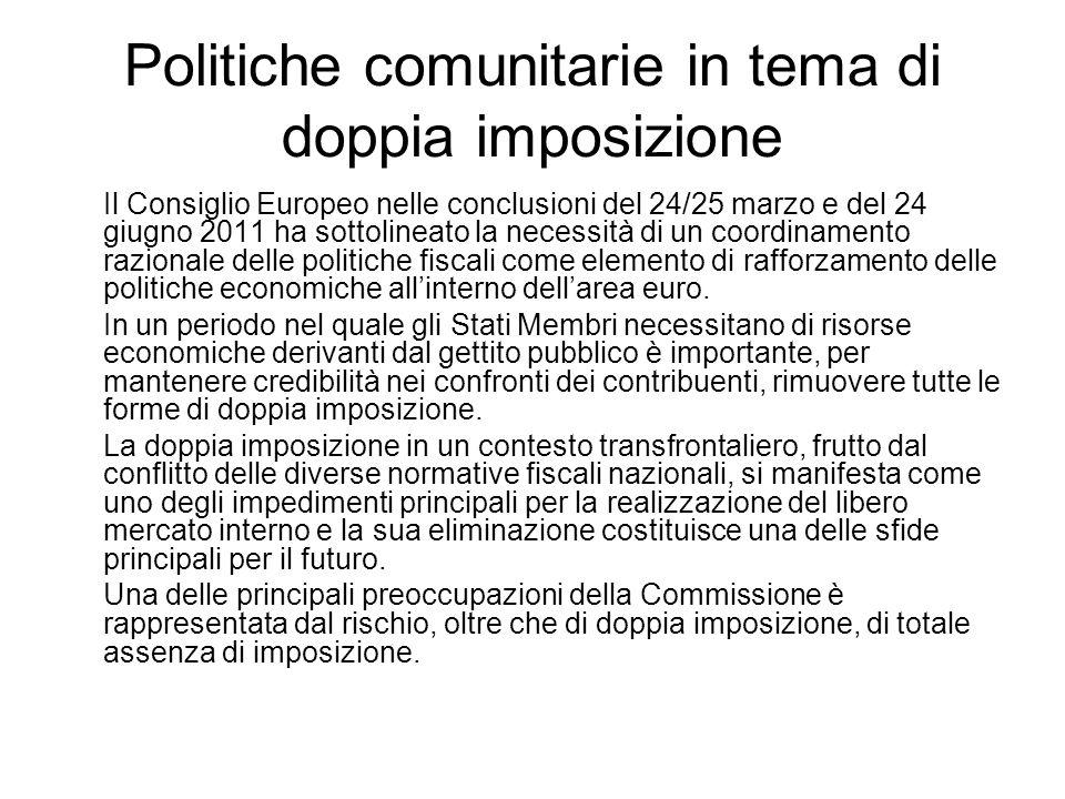 Politiche comunitarie in tema di doppia imposizione