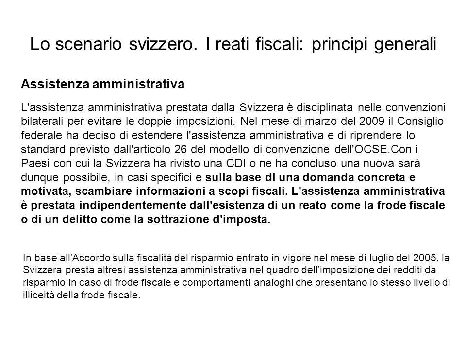 Lo scenario svizzero. I reati fiscali: principi generali