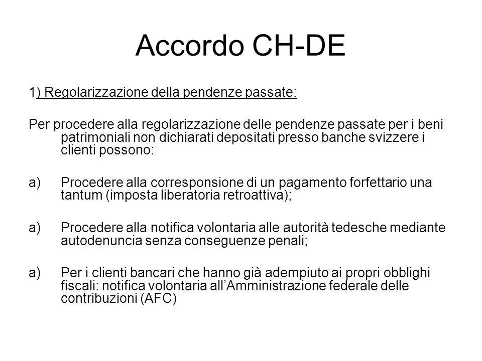 Accordo CH-DE 1) Regolarizzazione della pendenze passate: