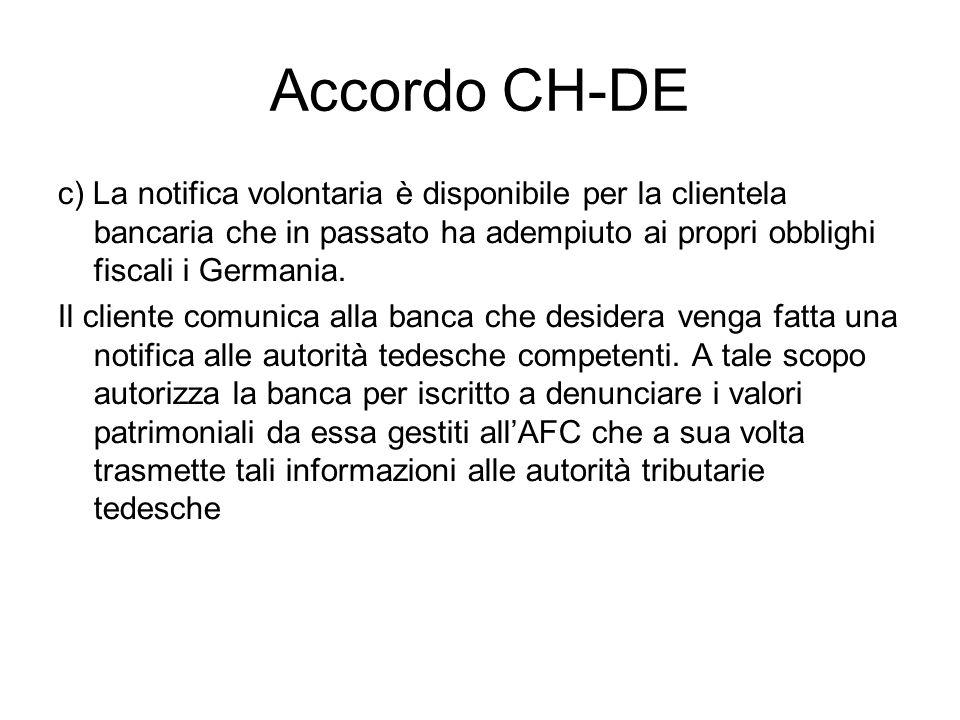 Accordo CH-DE c) La notifica volontaria è disponibile per la clientela bancaria che in passato ha adempiuto ai propri obblighi fiscali i Germania.