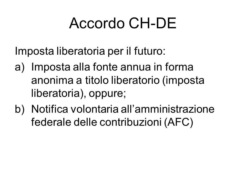 Accordo CH-DE Imposta liberatoria per il futuro: