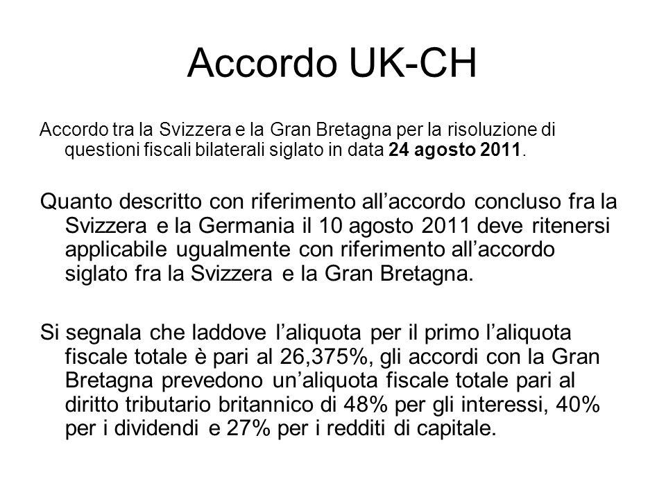 Accordo UK-CH Accordo tra la Svizzera e la Gran Bretagna per la risoluzione di questioni fiscali bilaterali siglato in data 24 agosto 2011.