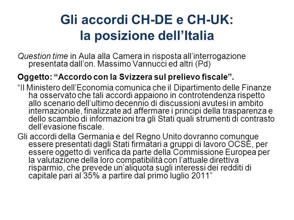 Gli accordi CH-DE e CH-UK: la posizione dell'Italia
