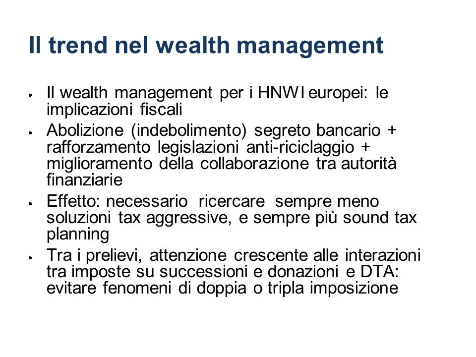 Il trend nel wealth management
