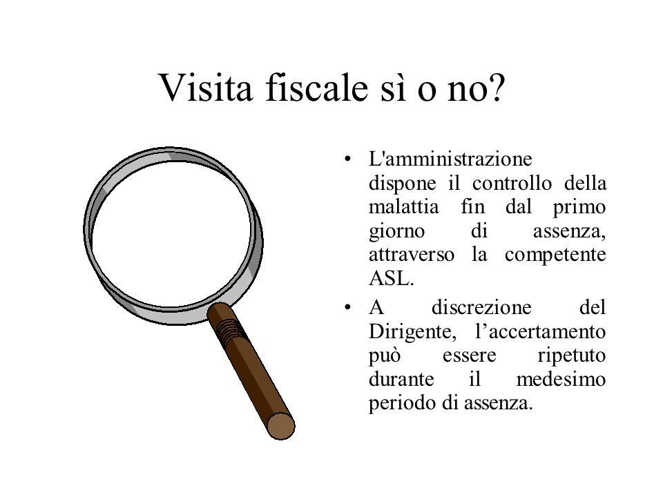 Visita fiscale sì o no L amministrazione dispone il controllo della malattia fin dal primo giorno di assenza, attraverso la competente ASL.