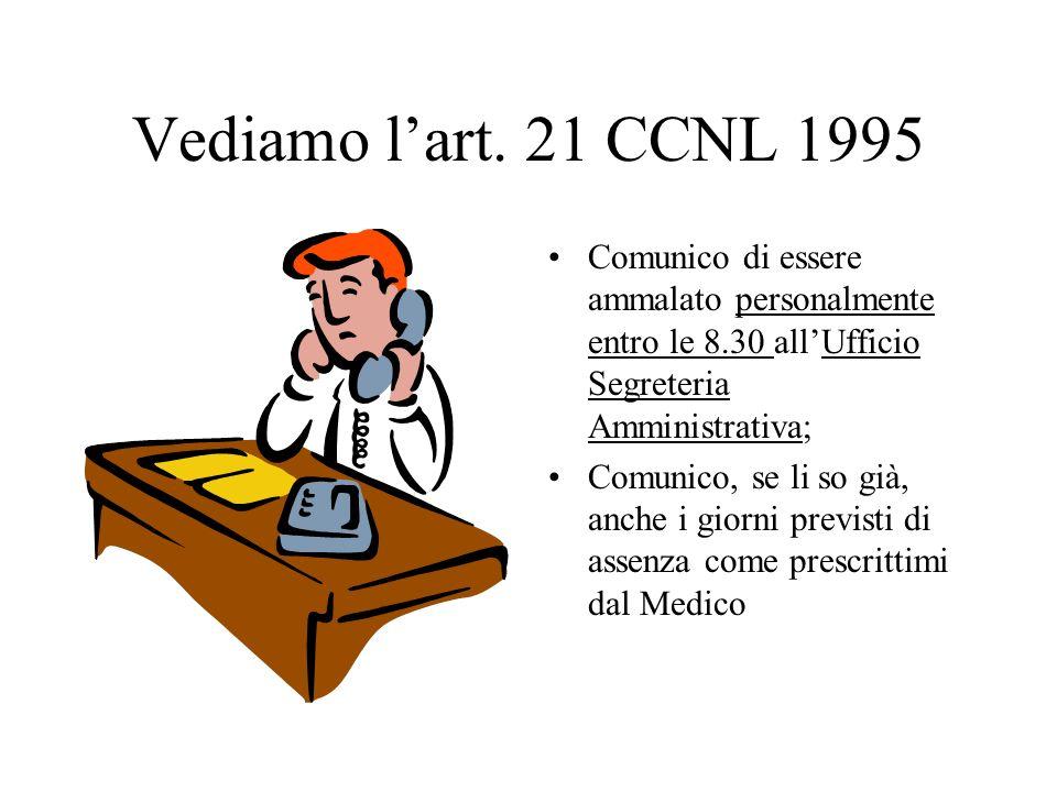 Vediamo l'art. 21 CCNL 1995 Comunico di essere ammalato personalmente entro le 8.30 all'Ufficio Segreteria Amministrativa;