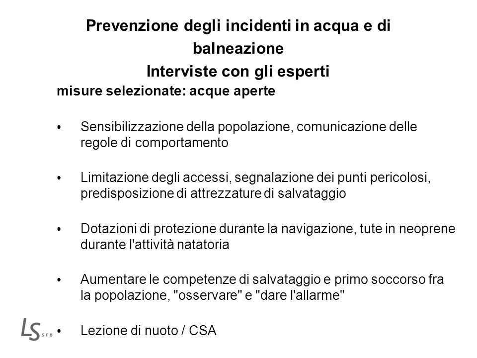Prevenzione degli incidenti in acqua e di balneazione Interviste con gli esperti