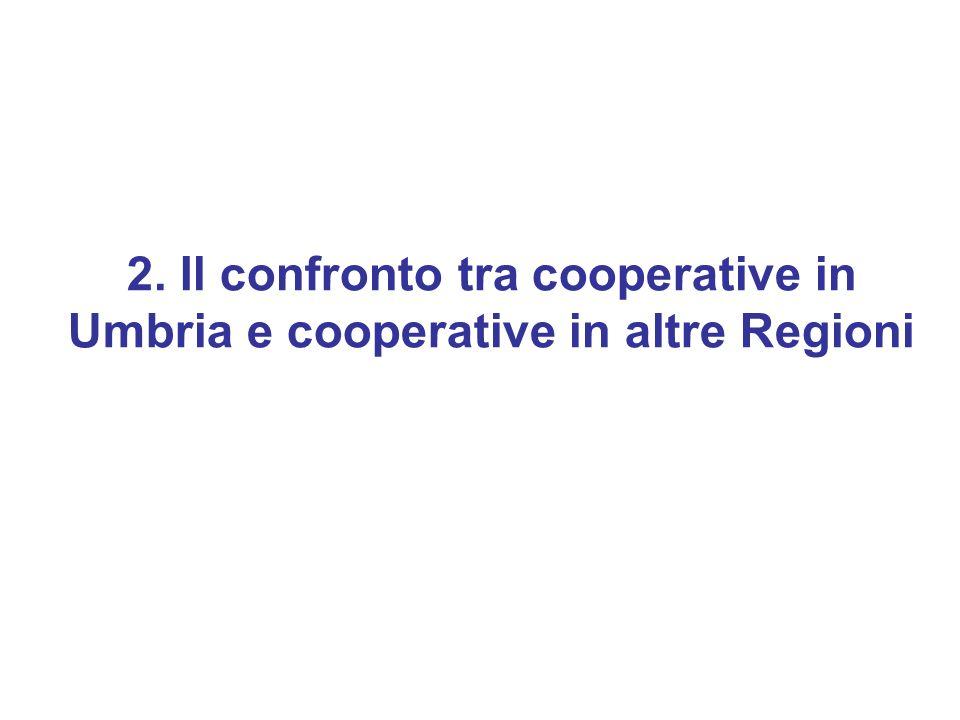 2. Il confronto tra cooperative in Umbria e cooperative in altre Regioni