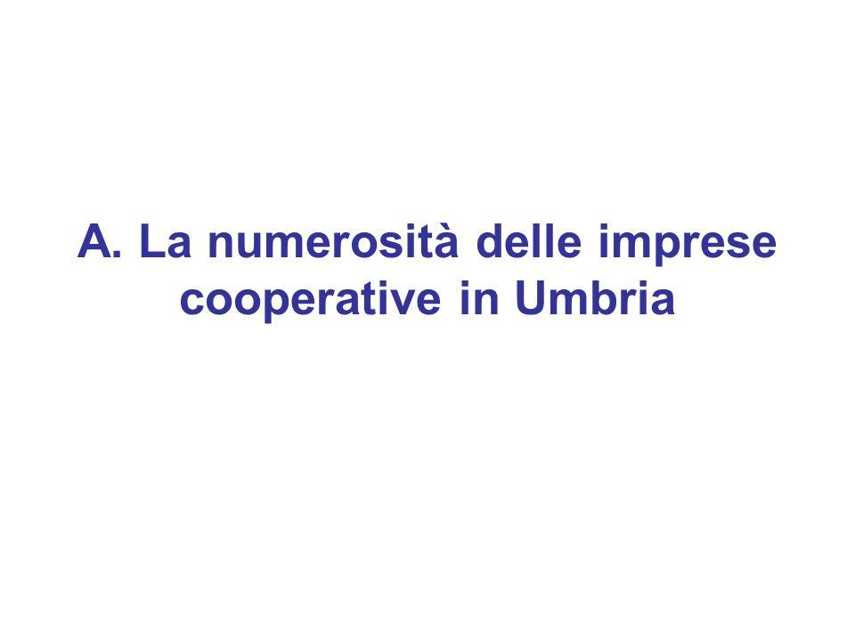 A. La numerosità delle imprese cooperative in Umbria