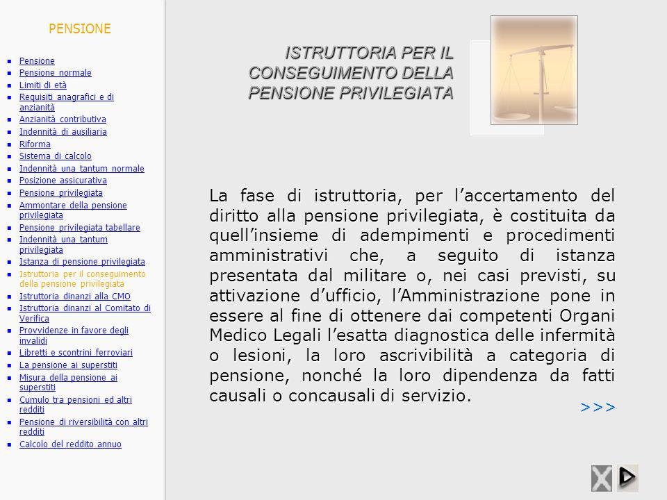 ISTRUTTORIA PER IL CONSEGUIMENTO DELLA PENSIONE PRIVILEGIATA