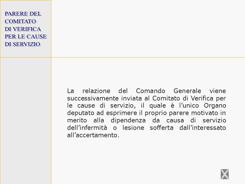 PARERE DEL COMITATO. DI VERIFICA. PER LE CAUSE. DI SERVIZIO.