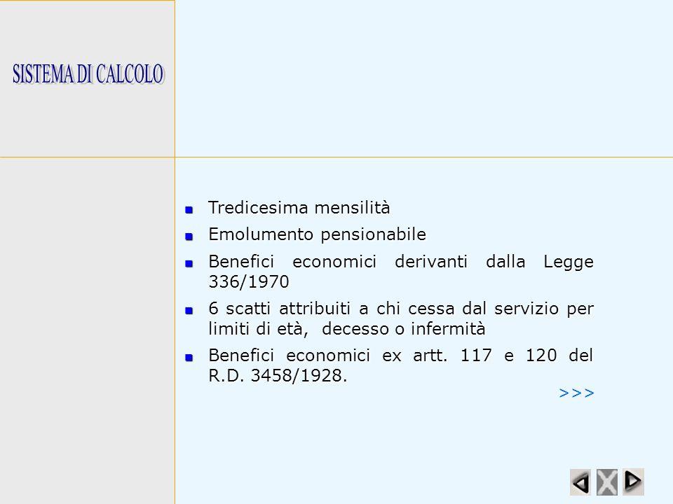 SISTEMA DI CALCOLO Tredicesima mensilità. Emolumento pensionabile. Benefici economici derivanti dalla Legge 336/1970.