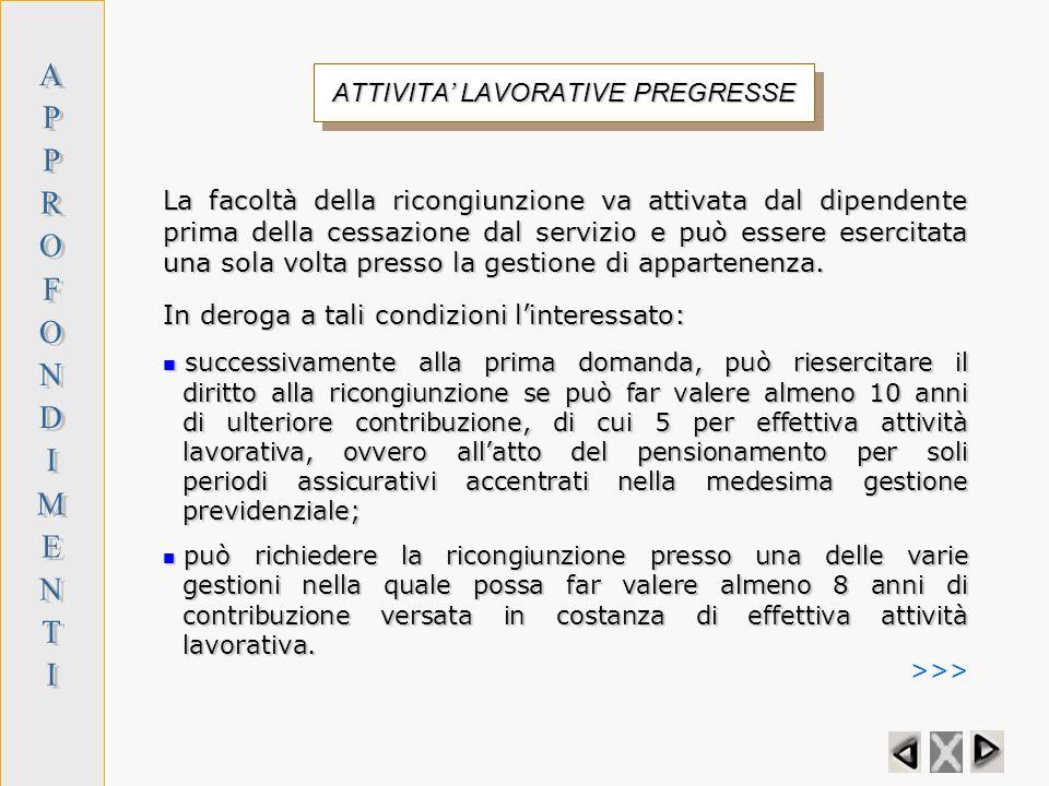 ATTIVITA' LAVORATIVE PREGRESSE