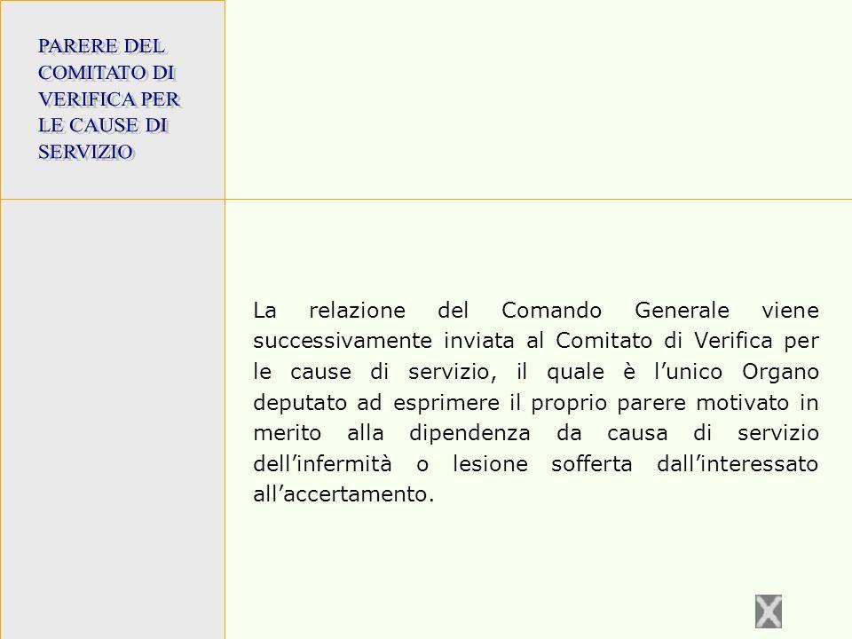 PARERE DEL COMITATO DI. VERIFICA PER. LE CAUSE DI. SERVIZIO.