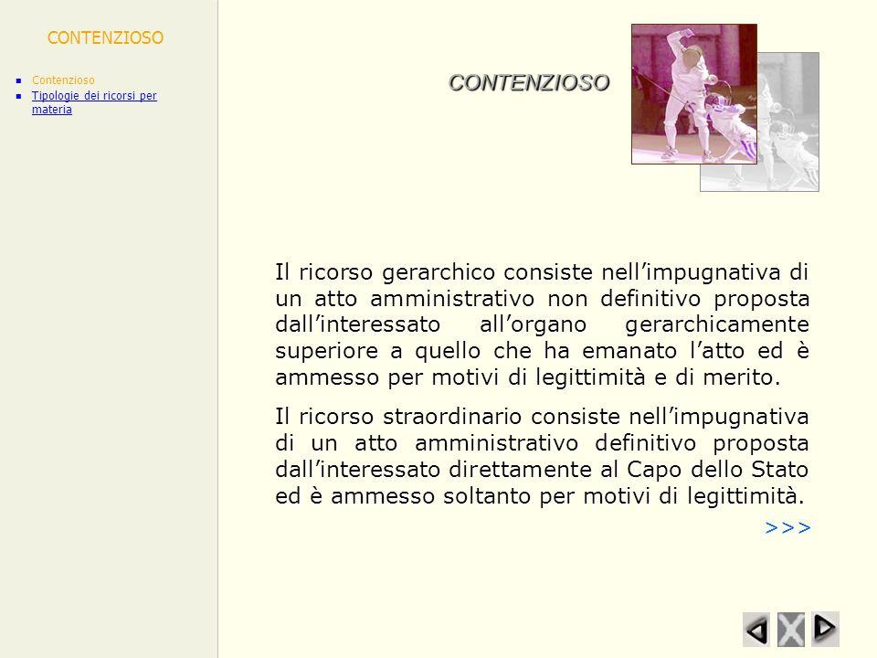 CONTENZIOSO Contenzioso. Tipologie dei ricorsi per materia. CONTENZIOSO.