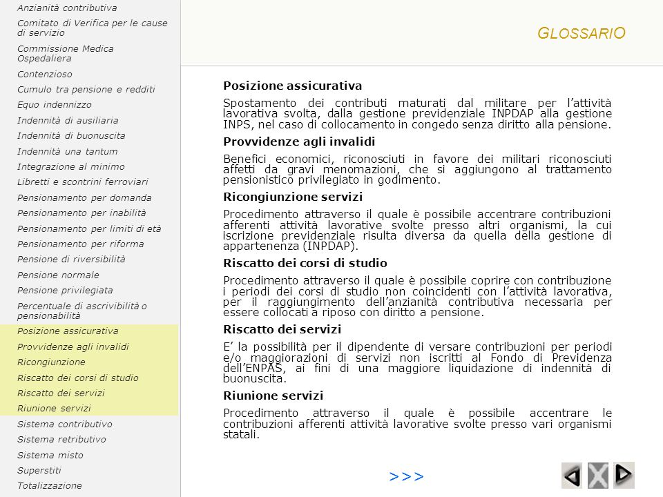 GLOSSARIO >>> Posizione assicurativa