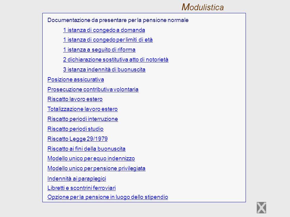 Modulistica Documentazione da presentare per la pensione normale