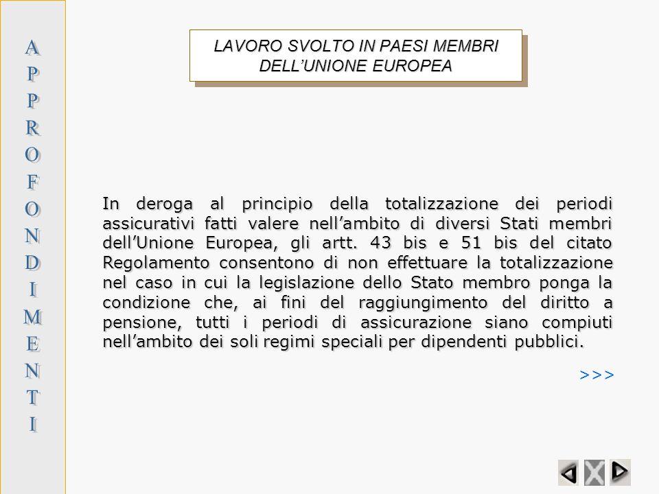 LAVORO SVOLTO IN PAESI MEMBRI DELL'UNIONE EUROPEA