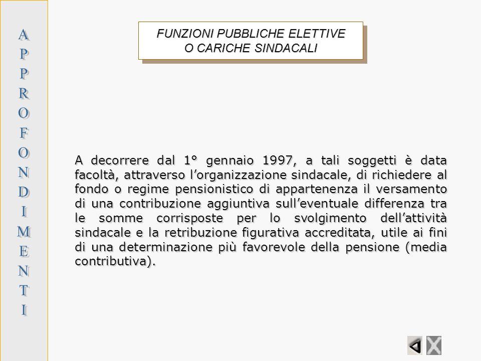 FUNZIONI PUBBLICHE ELETTIVE O CARICHE SINDACALI