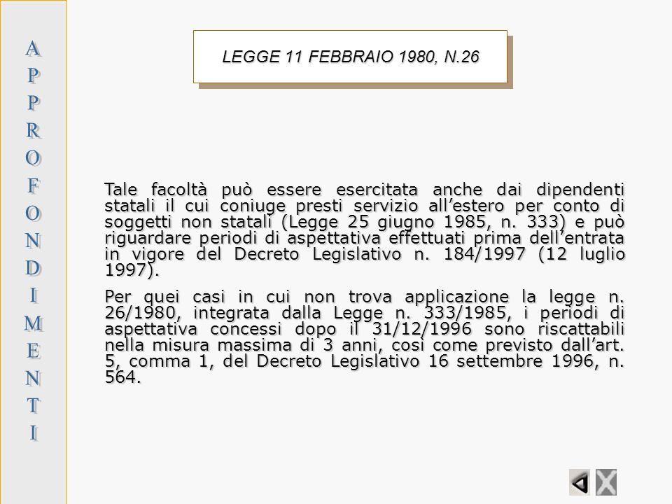 A P R O F N D I M E T LEGGE 11 FEBBRAIO 1980, N.26