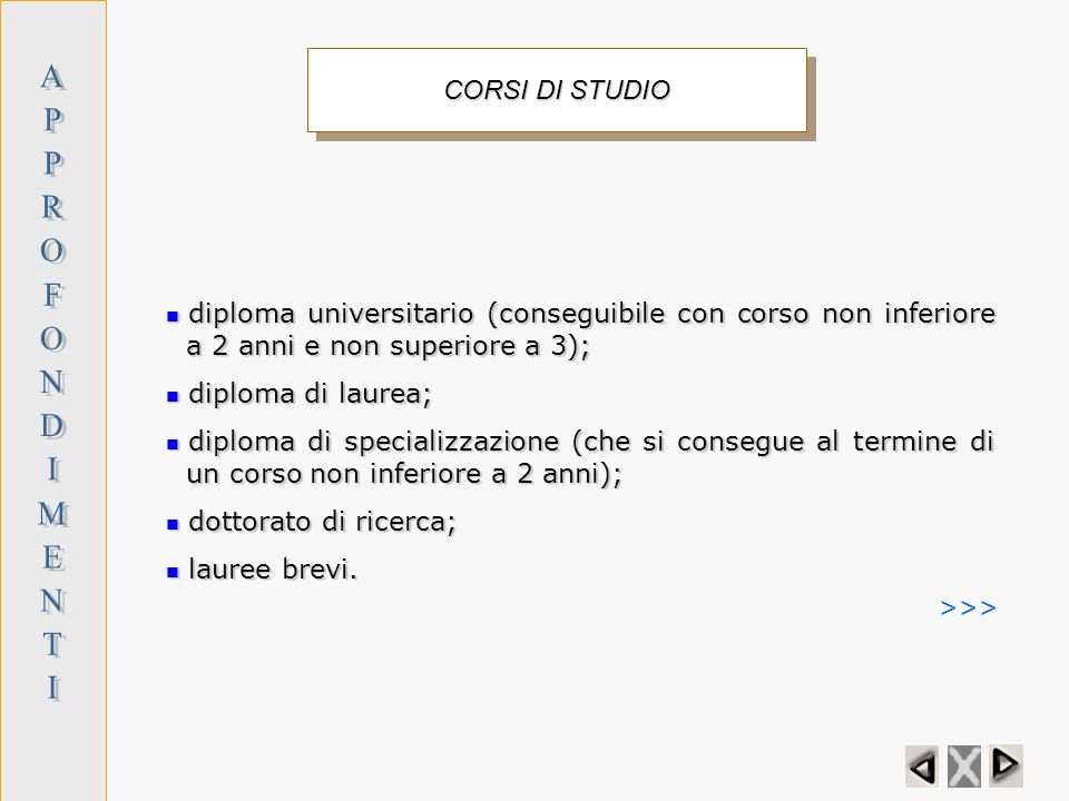 A P R O F N D I M E T CORSI DI STUDIO