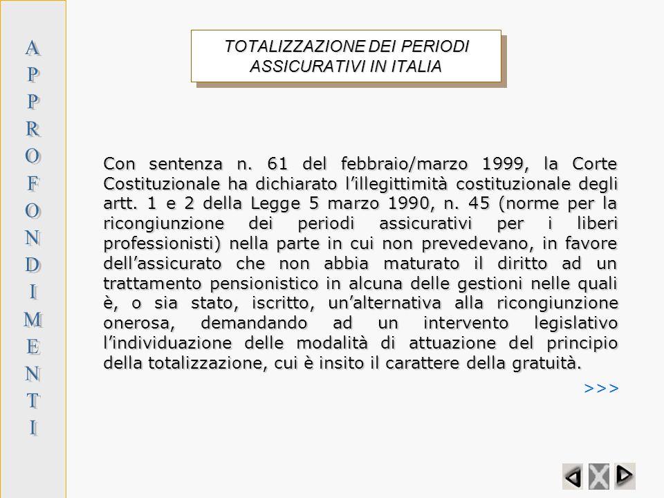 TOTALIZZAZIONE DEI PERIODI ASSICURATIVI IN ITALIA
