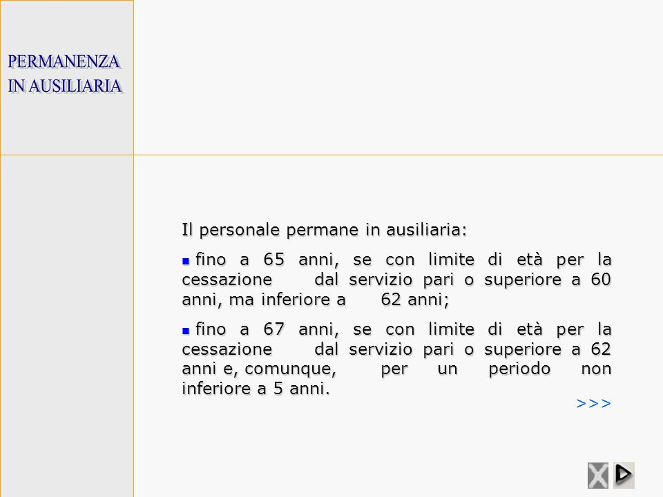 PERMANENZA IN AUSILIARIA. Il personale permane in ausiliaria: