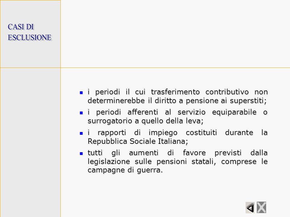 CASI DI ESCLUSIONE. i periodi il cui trasferimento contributivo non determinerebbe il diritto a pensione ai superstiti;