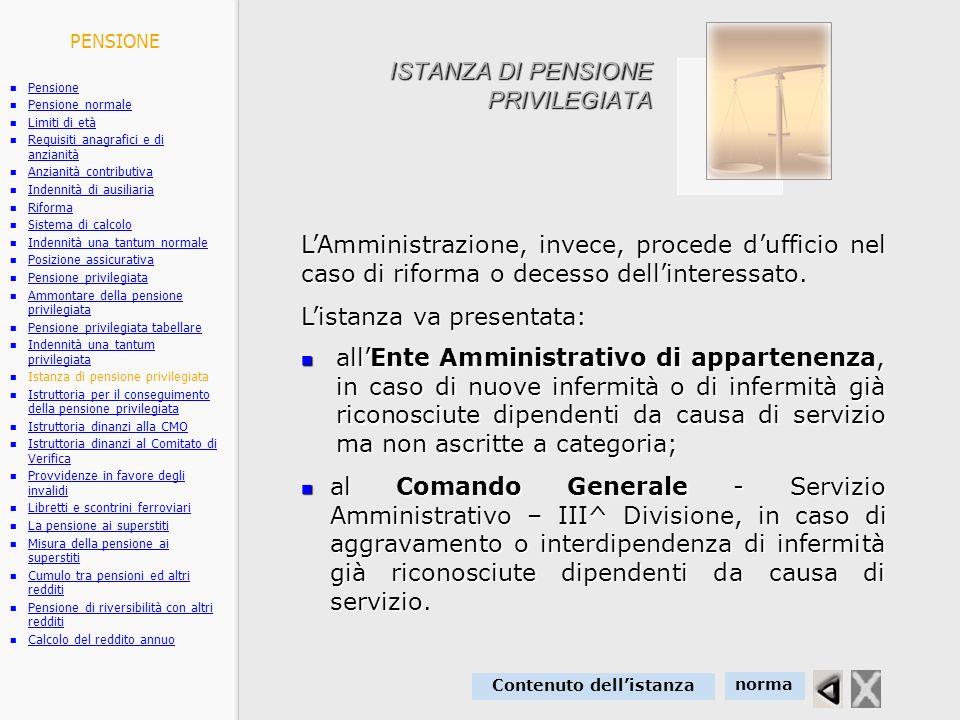 ISTANZA DI PENSIONE PRIVILEGIATA