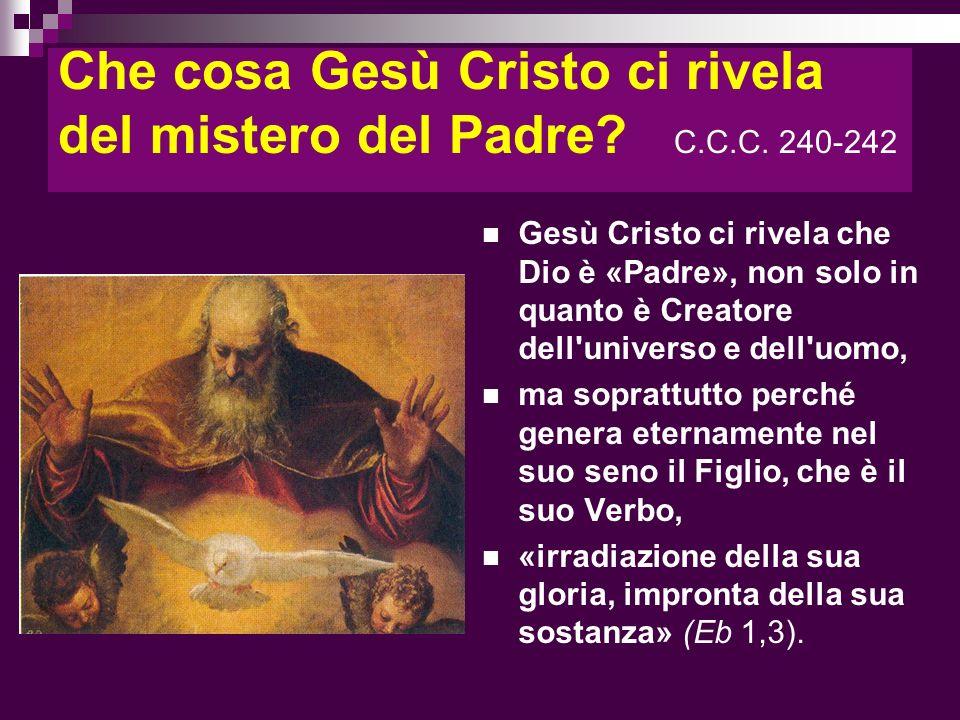 Che cosa Gesù Cristo ci rivela del mistero del Padre C.C.C. 240-242