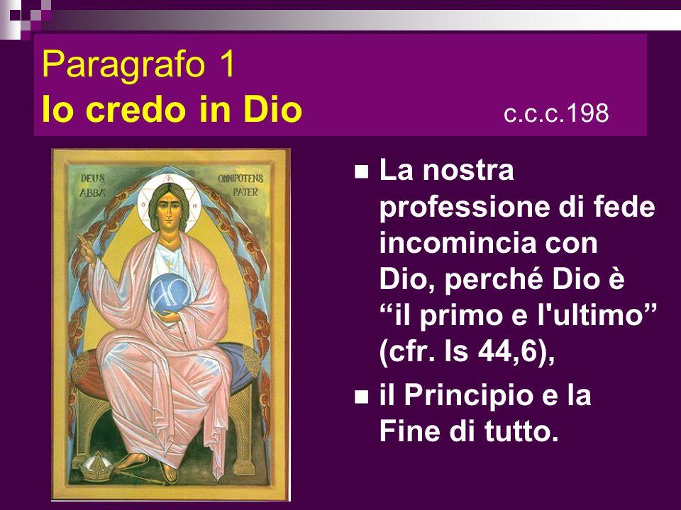 Paragrafo 1 Io credo in Dio c.c.c.198