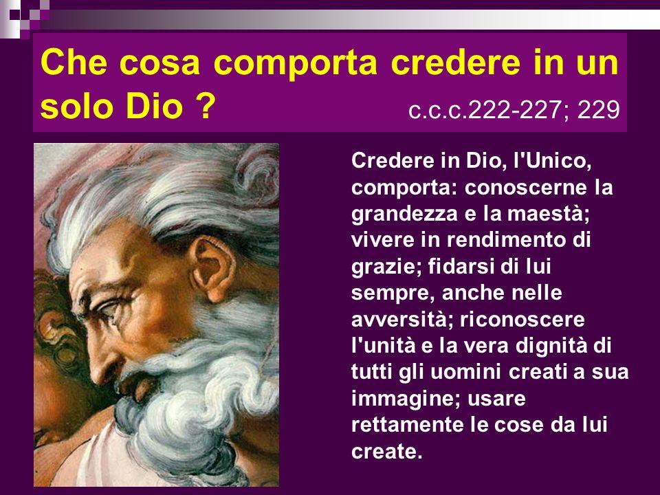 Che cosa comporta credere in un solo Dio c.c.c.222-227; 229