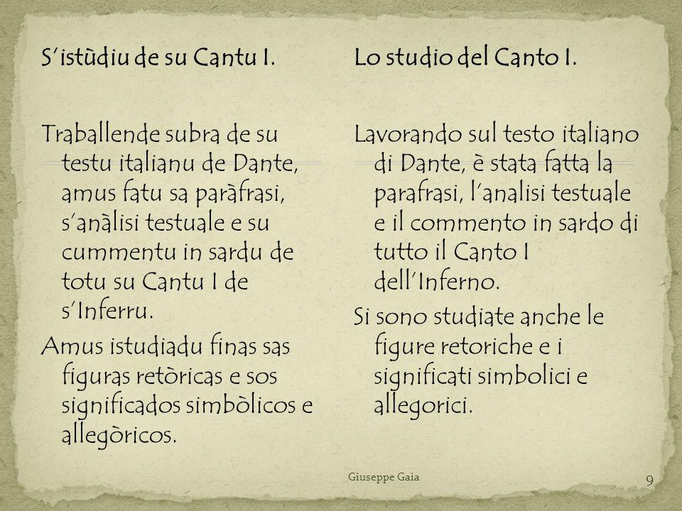 S'istùdiu de su Cantu I. Lo studio del Canto I.