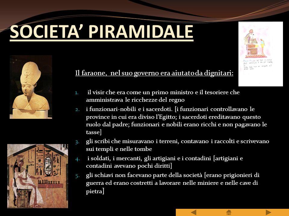 SOCIETA' PIRAMIDALE Il faraone, nel suo governo era aiutato da dignitari: