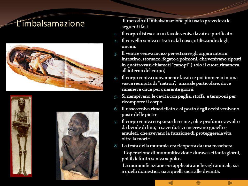 L'imbalsamazione Il metodo di imbalsamazione più usato prevedeva le seguenti fasi: Il corpo disteso su un tavolo veniva lavato e purificato.