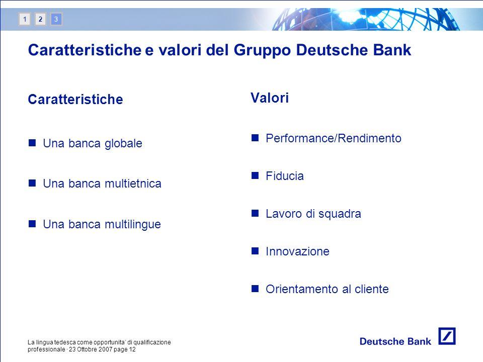 Caratteristiche e valori del Gruppo Deutsche Bank
