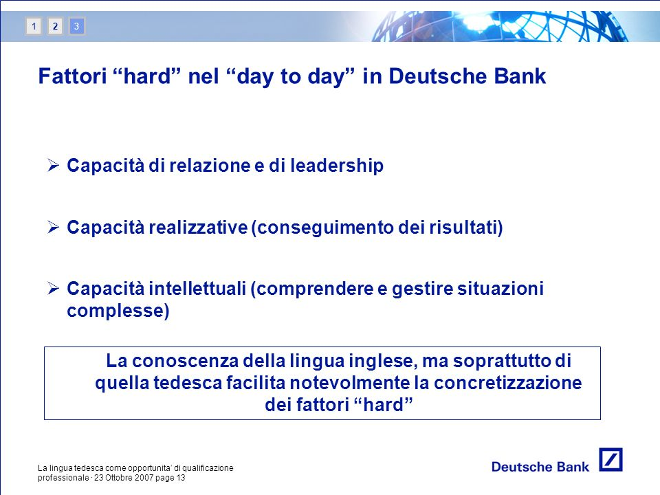 Fattori hard nel day to day in Deutsche Bank