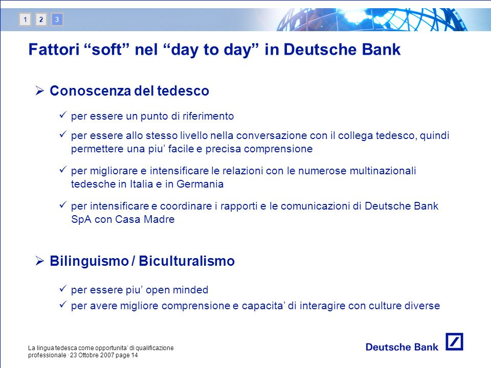 Fattori soft nel day to day in Deutsche Bank