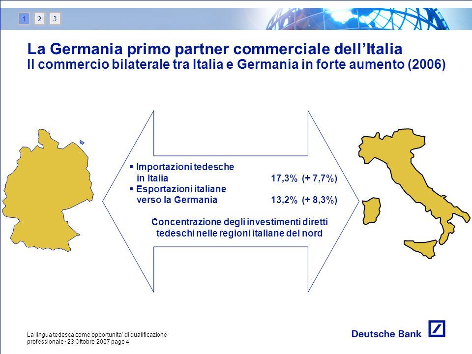 1 2. 3. La Germania primo partner commerciale dell'Italia Il commercio bilaterale tra Italia e Germania in forte aumento (2006)