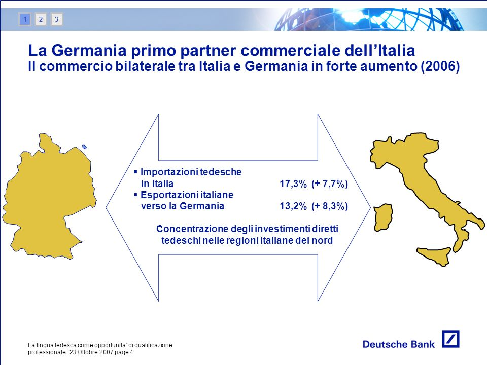 12. 3. La Germania primo partner commerciale dell'Italia Il commercio bilaterale tra Italia e Germania in forte aumento (2006)