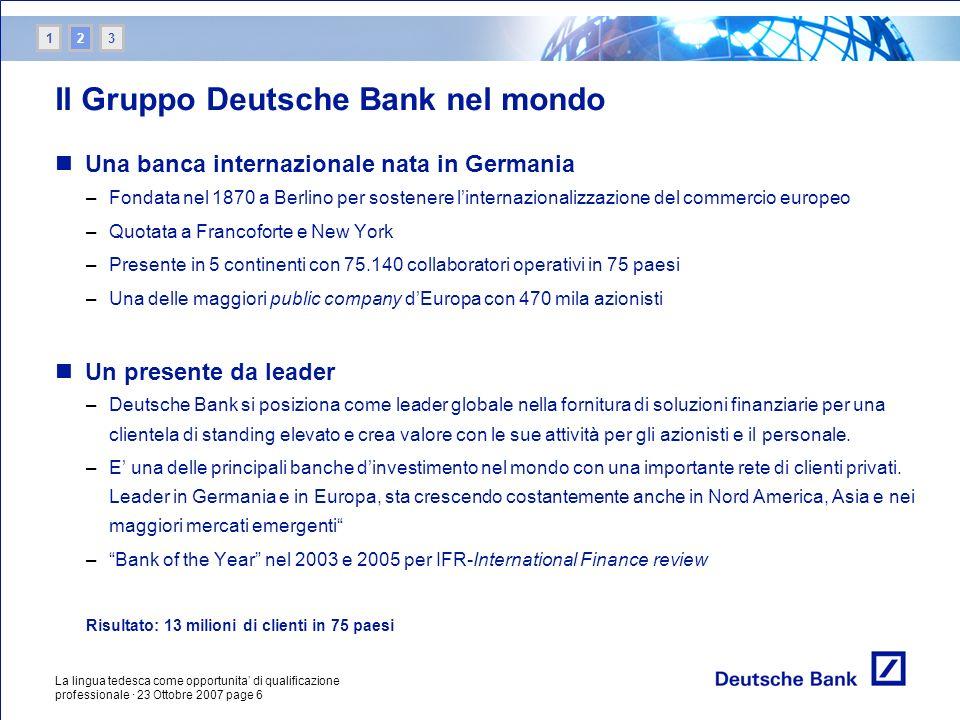 Il Gruppo Deutsche Bank nel mondo
